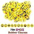 Emoji Rubber Charms Novelty for Bracelets, Necklace, Keyring Making, 75pcs, No Connectors