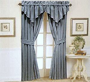 Waverly Home Classics Moire Blue Ascot Valance Kitchen Dining