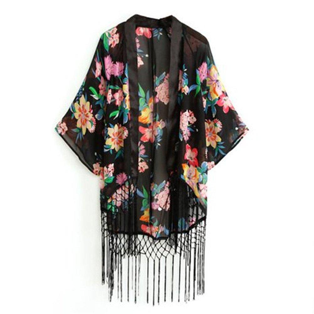 Kamaco Women Vintage Retro Ethnic Floral Tassels Loose Kimono Cardigan Coat Shawl 0