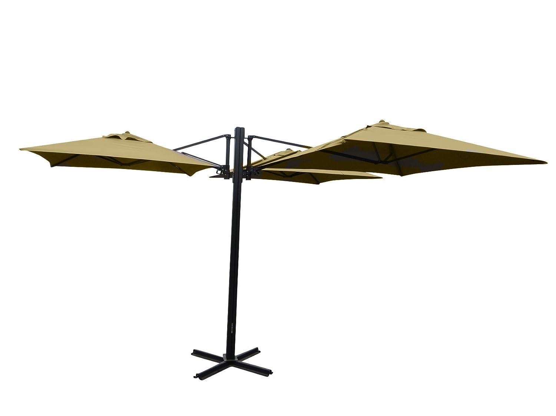 "Madison Gastronomie Gartenschirm ""Murano III"" mit drei separat verstellbaren Schirmen in natur – ecru, UV-Schutz 40 Plus jetzt bestellen"