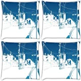 Snoogg Street Array Wallwuzz Pack Of 4 Digitally Printed Cushion Cover Pillows 16 X 16 Inch