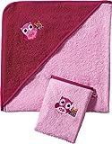 Kinderbutt Frottier-Set 2-tlg. mit Stickerei Eule Frottee rosa Größe 100x100