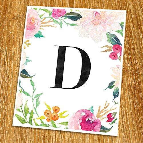 D Monogram Print (Unframed), Nursery Wall Decor, Flower Letter, Floral Alphabet, Living Room Decor, Initial Print, Typography Print, Watercolor, 8x10