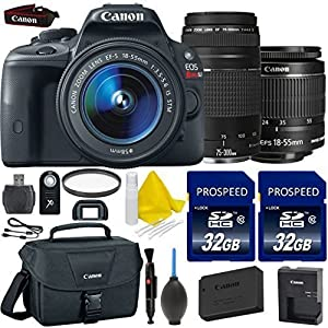 Canon EOS Rebel SL1 18.0 MP CMOS Digital SLR Full HD 1080 Video Bundle + Canon EF-S 18-55mm IS STM + Canon EF 75-300mm f/4-5.6 III + 2pc High Speed 32GB Memory Cards + UV Filter + 9pc Accessory Kit
