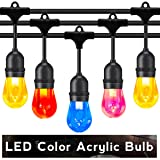 Outdoor String Lights LED 48 Feet Advanced Weatherproof Design Connectable String of Light,15 Acrylic Color Heavy Duty Hanging Socket -E26 for Porch Patio Garden Backyard (Color: Acrylic Multicolor, Tamaño: 48FT)