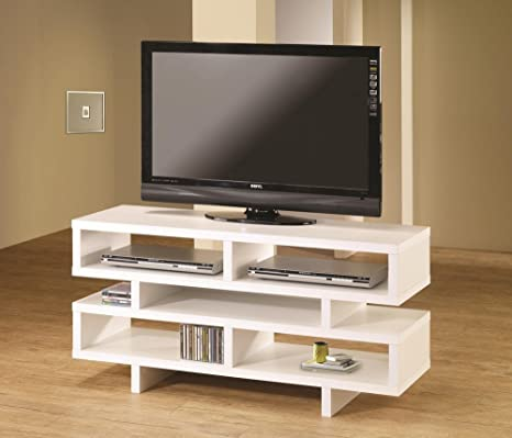 Modern style white finish wood step style shelves TV stand entertainment center