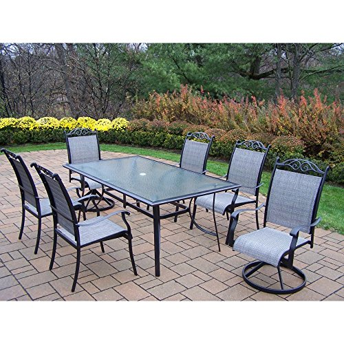 Oakland Living Cascade 7-Piece Sling Dining Set with 72 by 42-Inch Table in Coffee