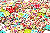 Pack of 50 55 PCS Square Buttons Mixed Wood Buttons Sewing Scrapbooking Flowers Shaped 2 Holes