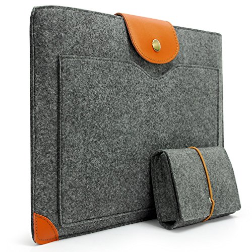 Sinoguo Ageless Gray Felt & Leather Handmade Case Bag Holder Sleeve Extend over Pouch for 11 Macbook Air and Most Prevailing 11~11.6 Inches Laptop / Notebook / Ultrabook /Netbook, Added to the Adapter Package for Power Adapter / Agile Phone / Charger or