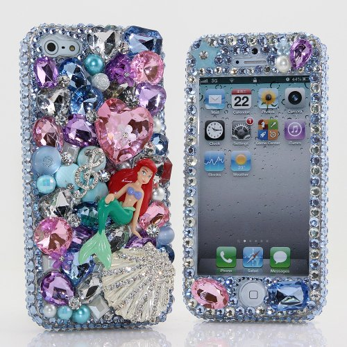 Special Sale BlingAngels® 3D Luxury Bling iphone 5 5s Case Cover Faceplate Swarovski Crystals Diamond Sparkle bedazzled jeweled Design Front & Back Snap-on Hard Case (100% Handcrafted by BlingAngels) (TinkerBell with Diamond Shell)