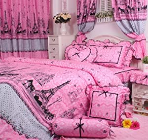 cliab pink paris bedding twin size gilrs bedding set rustic rural bedding 100. Black Bedroom Furniture Sets. Home Design Ideas