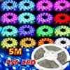 Waterproof SMD 5050 RGB LED Strip Tape Light Flexible LED Ribbon 5 Meters / 150 LED's, + 20 Colours + 44 Key Colours IR Controller + 12V Power Supply AC Adapter. Ideal For Gardens, Homes, Kitchen, Under Cabinet, Aquariums, Cars, Bar, Moon, DIY Party Decoration Lighting