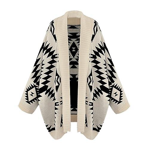 Aztec Geometric Print Batwing Knitwear Oversized Open Front Cardigan