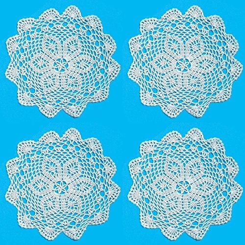 Luna Bazaar Crocheted Lace Doilies (10-Inch, Grace Design, White, 100% Cotton, Set of 4)