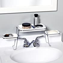 Small Spaces Over the Faucet Shelf White and Chrome