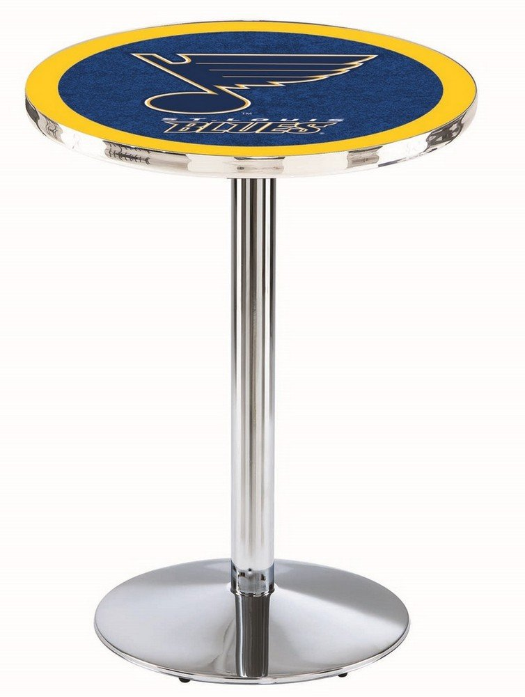 Saint Louis Blues St Pub Table With Chrome Base and Edge coffee color stool metal leg living room dining room stool retail wholesale free shipping garden children stool green