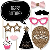 Chic Happy Birthday - Pink, Black and Gold - Birthday Photo Booth Props Kit - 20 Count