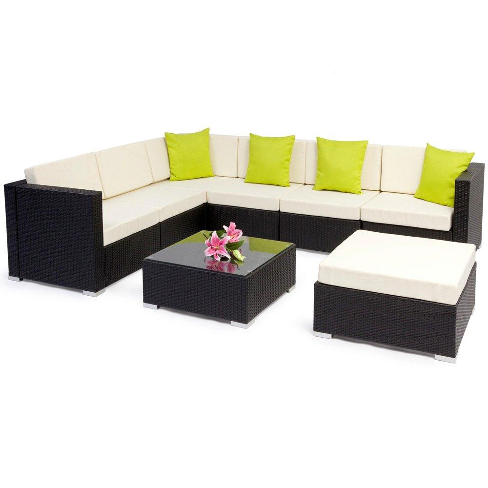TecTake Hochwertige Aluminium Polyrattan Lounge Sitzgruppe mit Glastisch inkl. Kissen und Klemmen schwarz günstig bestellen