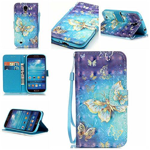 C-Super Mall-JP Samsung Galaxy S4 i9500 / GT - i9505 ケース:絶妙の3D塗装パターンPUレザー財布フリップスタンドケース.(ゴールドバタフライ)