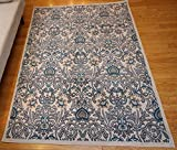 Generations New Contemporary Flowers Beige Navy Coral Blue Grey Modern Area Rug Rugs 7'10 x 10'5