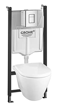 grohe pack wc wc suspendu complet avec b ti support cuvette abattant plaque pack 37442000. Black Bedroom Furniture Sets. Home Design Ideas