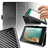 Orzly® - TABLET STAND CASE for NEXUS 9 with AUTO SLEEP SENSORS - Tablet Case in CARBON FIBRE BLACK with Built-In Magnetic Lid for Secure Fastening & Integrated Sleep Sensors ( for Automatic Sleep / Wake / Standby functionality ) - Custom Built to fit the