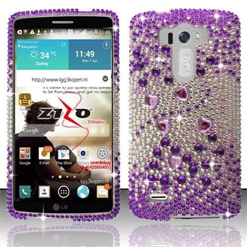 Lg G3 D850 D851 Ls990 Vs985 Bling Crystal Full Rhinestones Diamond Case Protector - Purple Silver Beats