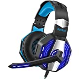 Kootop Stereo Gaming Headset for Xbox one,PS4 PC, Noise Cancelling Over Ear Headphones with Mic,Soft Earmuffs,Bass Surround,LED Light,for Laptop Tablet Phone(Black&Blue) (Color: Black)