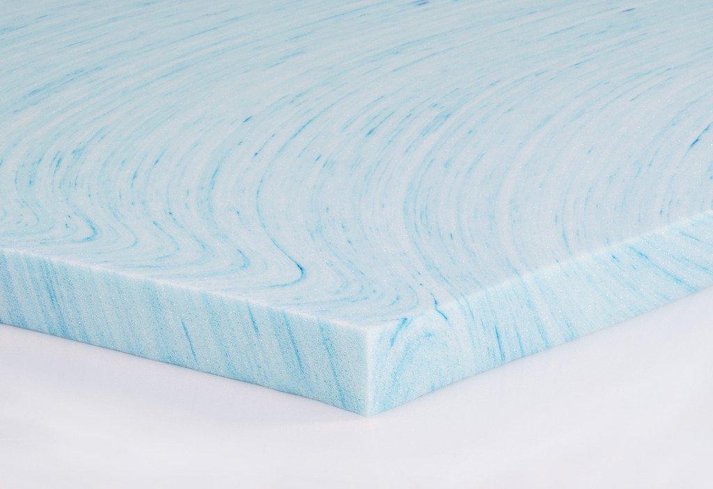 """DreamFoam Bedding DF20GT2050 2"""" Gel Swirl Memory Foam Topper, Queen, Blue"""
