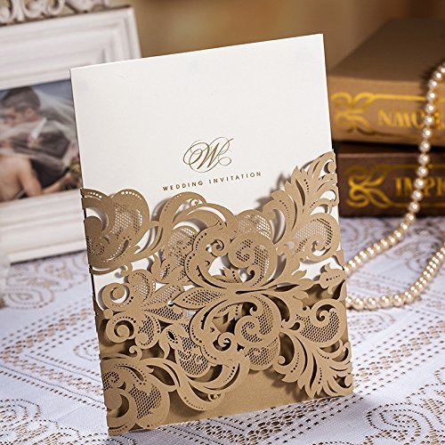 Wishmade 50x Luxury Gold Laser Cut Lace Wedding Invitations Cards Kits Engagement Bridal Shower Baby Shower Birthday Graduation Greeting Cardstock with Flowers(set of 50pcs) CW3109