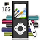 Tomameri - MP3/MP4 Player with Rhombic Button, Including a 16 GB Micro SD Card and Maximum support 32GB, Compact Music & Video Player, Photo Viewer, Video and Voice Recorder Supported - Black (Color: 16GB,Black)