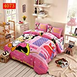 100% Cotton Kids Bedclothes 3D Minnie Mouse Duvet Cover Sheet Three-piece Bedding Set