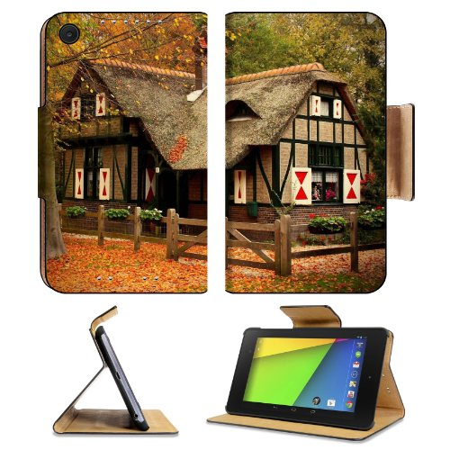 Houses Engulfed In Rock Hill Side Asus Google Nexus 7 FHD II 2nd Generation Flip Case Stand Magnetic Cover Open Ports Customized Made to Order Support Ready Premium Deluxe Pu Leather 8 1/4 Inch (210mm) X 5 1/2 Inch (120mm) X 11/16 Inch (17mm) Luxlady