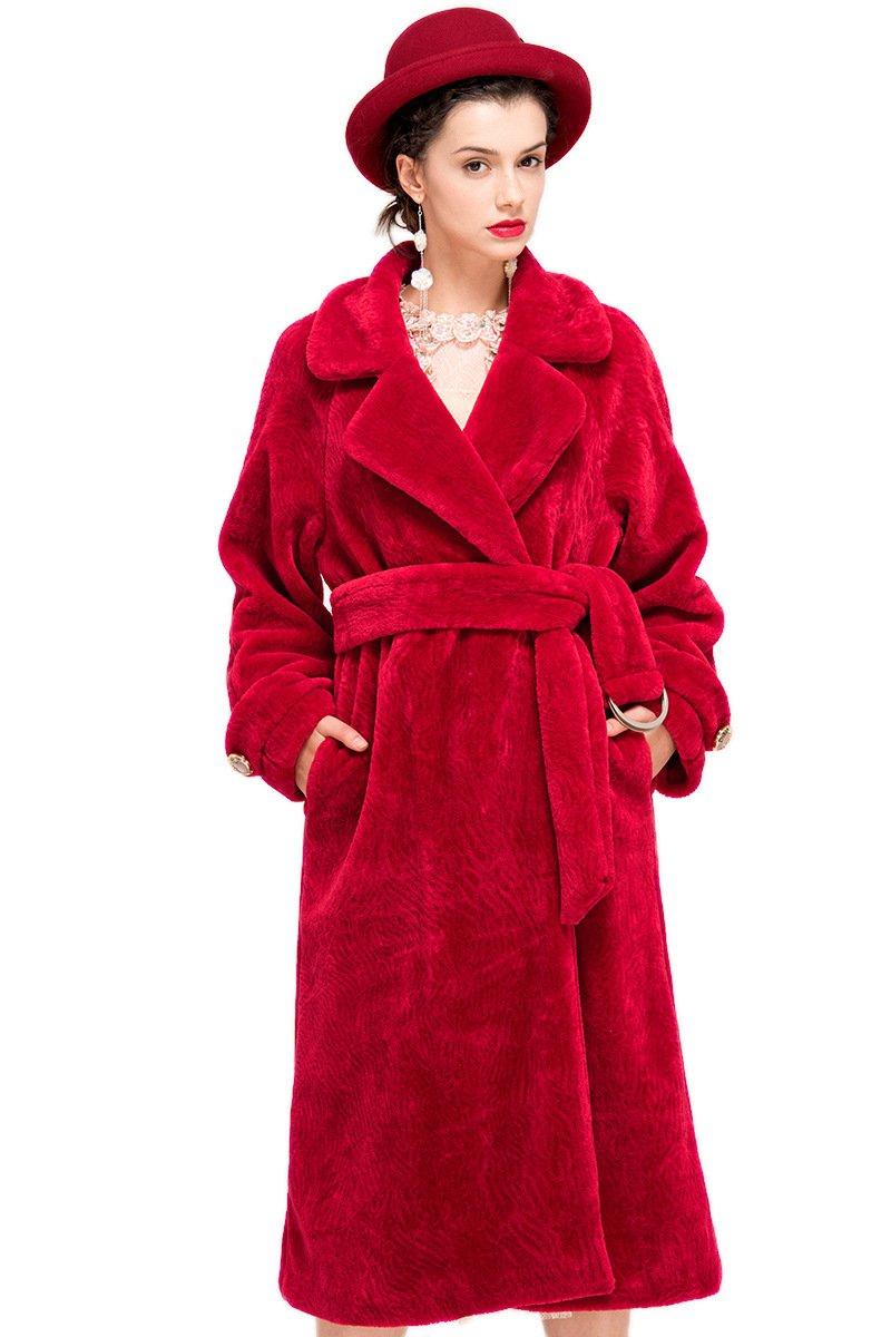 YIGELILA Women's Vintage Oversized Shearling Belted Long Fur Coat Wool Outwear 0