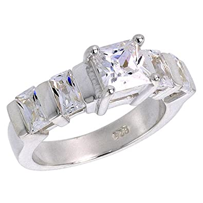"Revoni Sterling Silver 4.00 Carat Size Princess & Emerald Cut Cubic Zirconia Bridal Ring (Available in Sizes L to T), 1/4"" (7mm) wide"