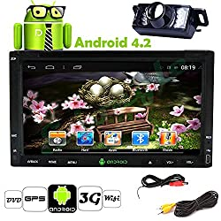 See Pupug 6.2 Inch Double Din in Dash Navigation GPS Car DVD Player Android 4.2 System USB Sd Bluetooth WIFI Car Pc Radio Navigation Backup Camera Phone Mirroring with Camera Details