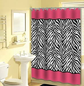 Amazon.com - 13pc Pink Zebra Shower Curtain Black White with 12 ...