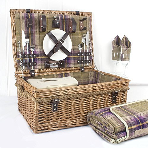 2 Personen Lila Tartan Picknick inklusive Decke und Lebensmittel-Kühler Tasche - Geschenk-Ideen...