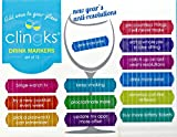 Clingks 12 Drink Markers - NEW YEAR'S ANTI-RESOLUTIONS - Fun Alternative to Wine Charms