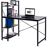 TANGKULA Computer Desk Modern Style Writing Study Table with 4 Tier Bookshelves Home Office Compact Multipurpose Workstation(Black) (Color: Black)