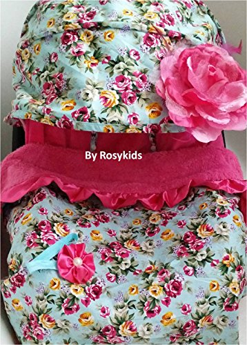 Infant Carseat Canopy Cover 3 Pc Whole Caboodle Baby Car Seat Cover Kit Floral Print C010101