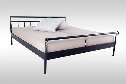 Bett, Metallbett, Bettgestell, 180x200, Doppelbett, Bettrahmen, Schlafbett, Schlafzimmerbett, Metall, schwarz