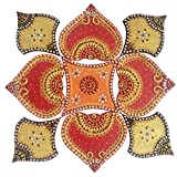 Just Crafts 9 Piece Wooden Rangoli (40 Cm X 40 Cm X 0.5 Cm)