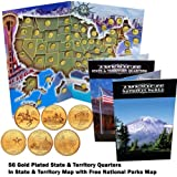 50 State and 6 Territory Quarter Set 24k Gold Plated with Folder 1999 - 2009