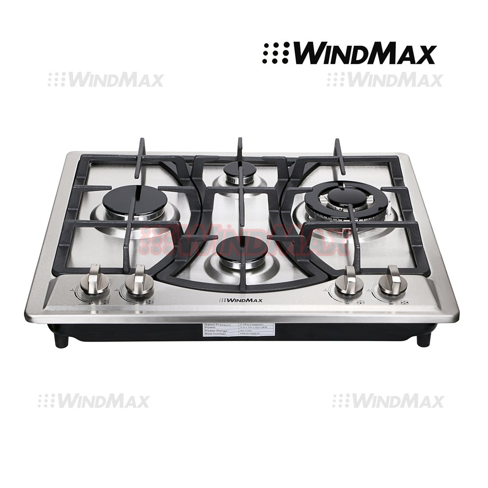 "WindMax® 23"" Elegant Curve Stainless Steel 4 Burners Stove NG/LPG Gas Hob Cooktop Cooker"