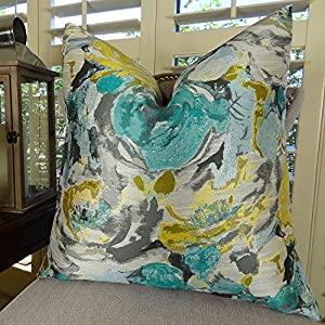Amazon.com: Decorative Floral Throw Pillow - Teal Blue Turquoise Grey Yellow Accent Pillow ...
