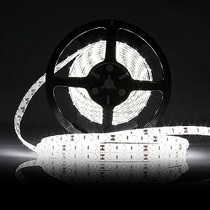 CMC LED Light Strip Lamp White Waterproof Strip Indoor Outdoor LED Strip Lights 16.4Ft 5M 300leds Flexible Rope Lighting Tape Lights for DC 12V Batter