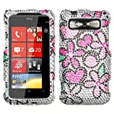 Rhinestones Protector Case for HTC 7 Trophy, Fantastic Flowers Full Diamond