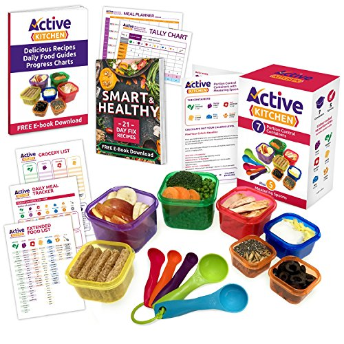 Active Kitchen 7-Piece Portion Control Containers with Complete Guide, 21 Day PDF Planner, Recipe E-Book and Measuring Spoons (Food Containers For 21 Day Fix compare prices)