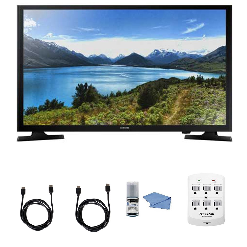 Samsung UN32J4000 - 32-Inch LED HDTV J4000 Series + Hookup Kit - Includes TV, 6 Outlet Wall Tap Surge Protector with Dual 2.1A USB Ports, HDMI Cable 6